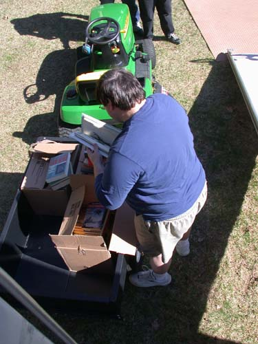 Tim Szczesuil loading his tractor